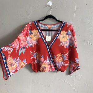 New Flying Tomato Boho Cropped Bell Sleeve Top H3